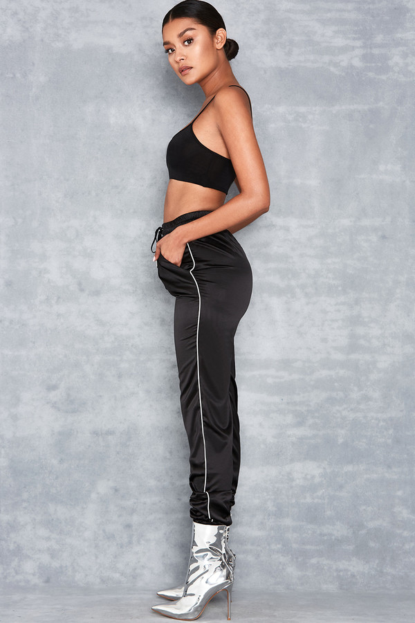 Curl Up Black Satin Joggers with Contrast Piping
