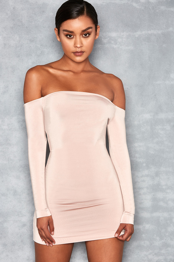 Effort Beige Off Shoulder Dress
