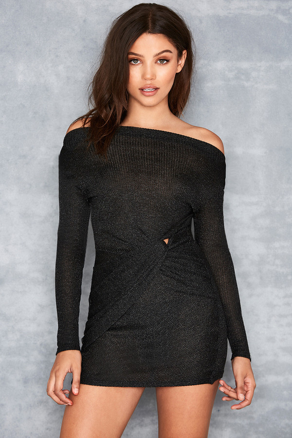 Paradiso Black Twist Bardot Mini Dress