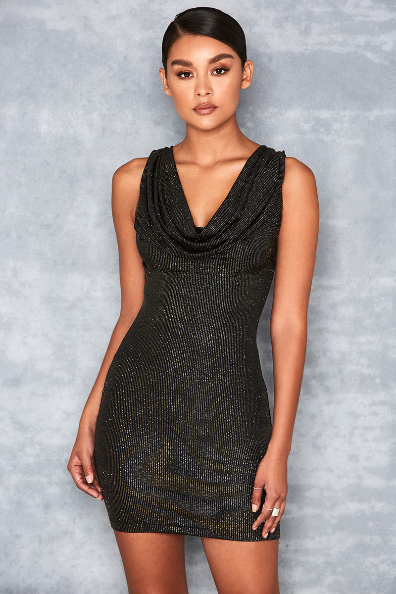 Agent Black & Gold Cowl Neck Mini Dress