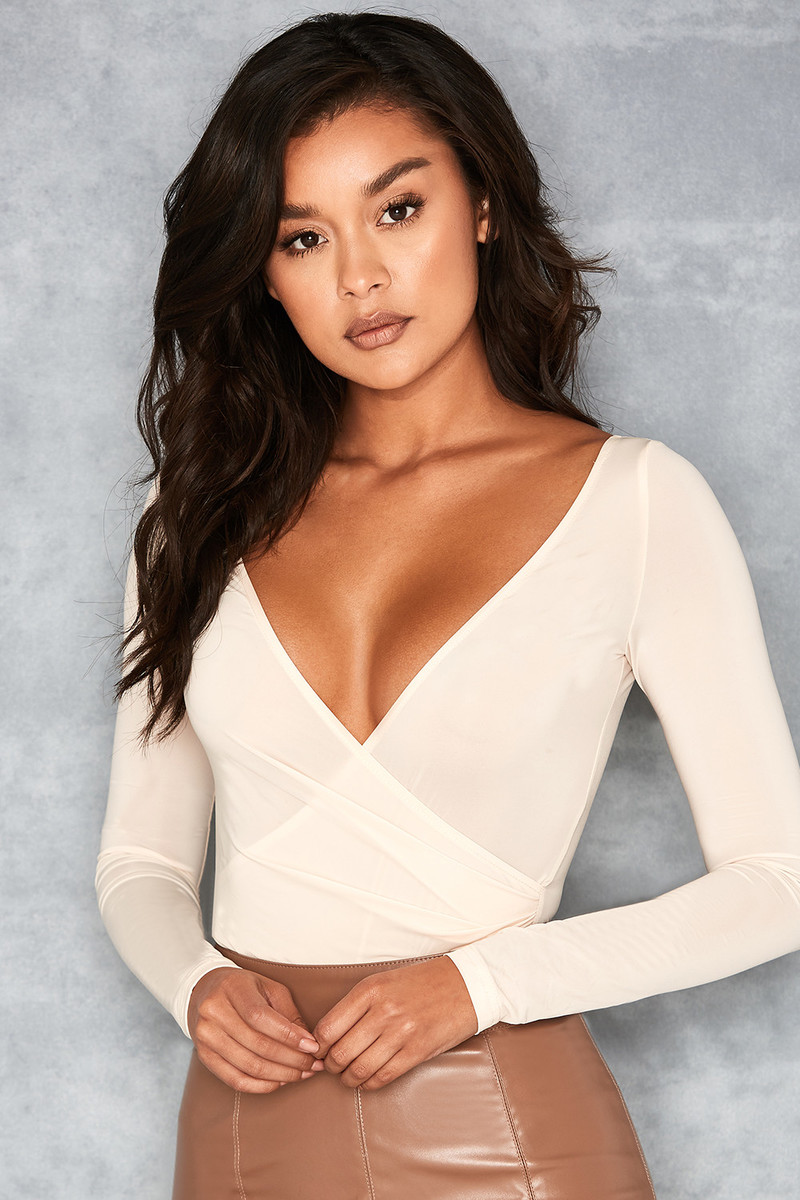 Angelic Cream Silky Jersey Crossover Bodysuit