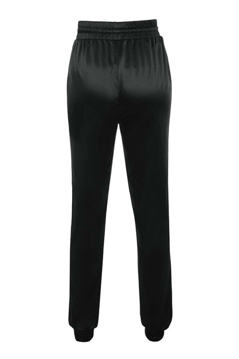 curl up trousers in black