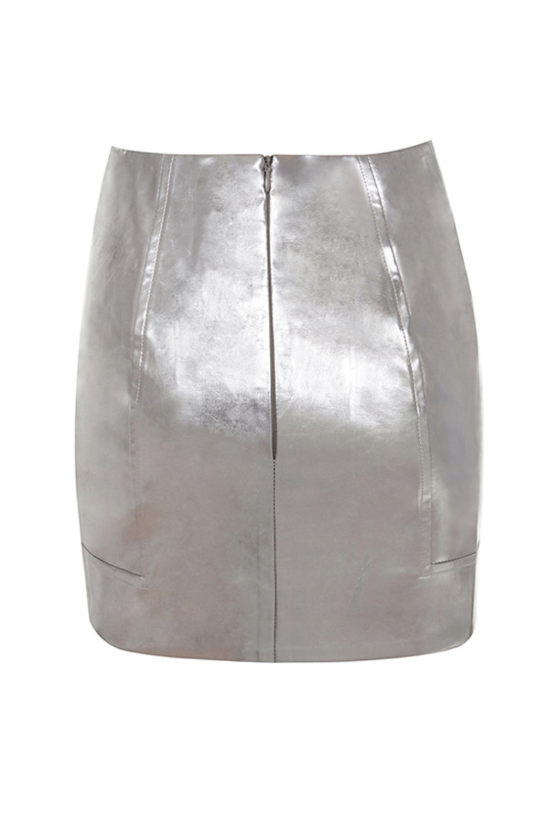 denial skirt in metallic