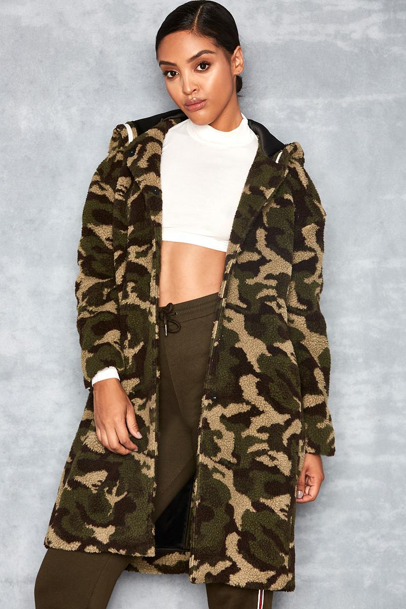 GI Jane Camo Fleece Hooded Coat