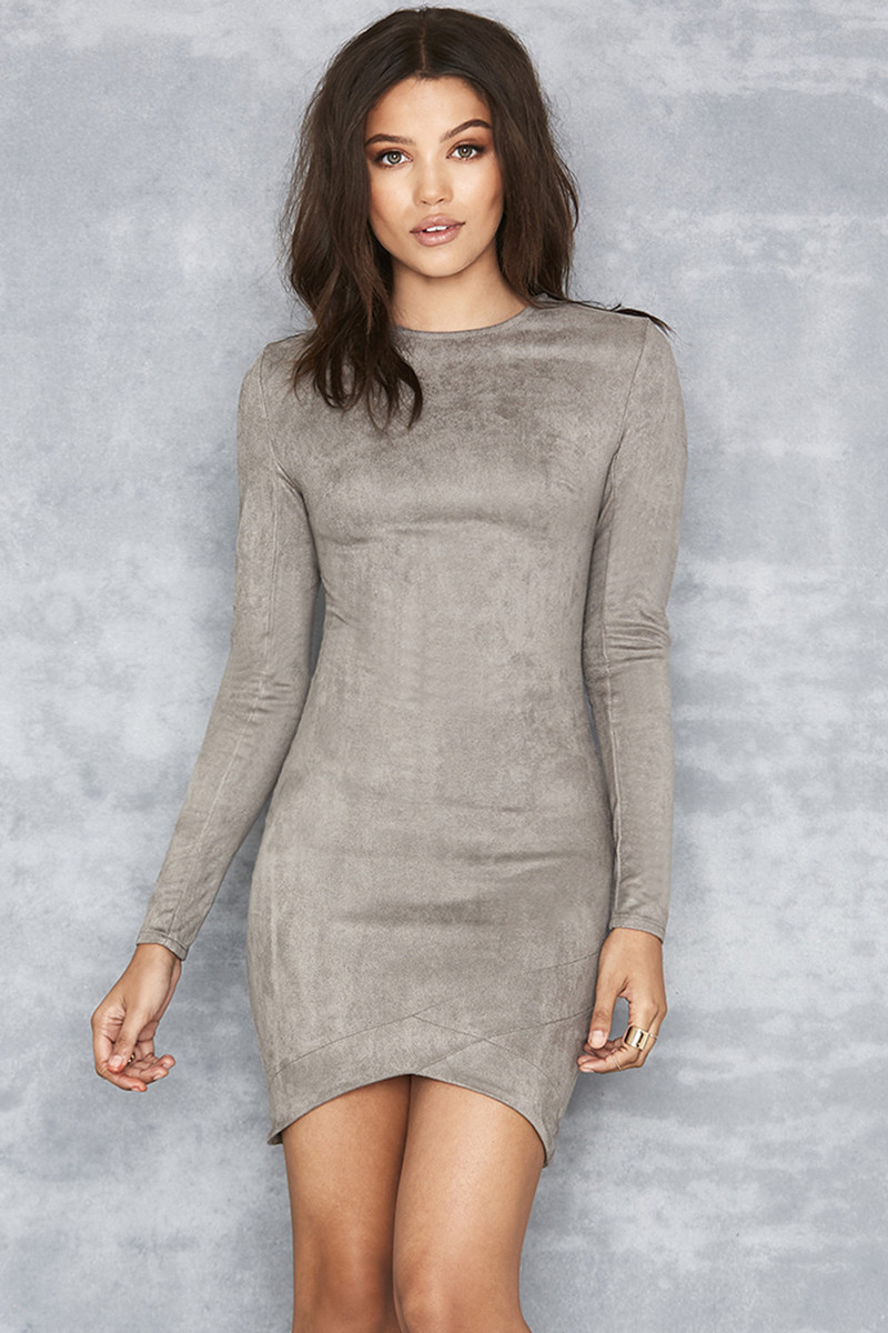 Gunsmoke Grey Suedette Asymmetric Dress