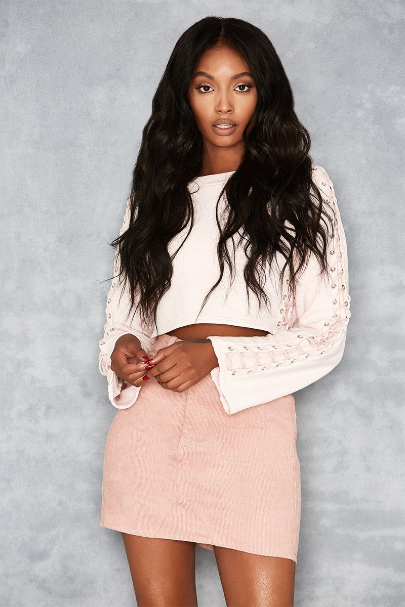 Lace Me Up Blush Cropped Sweatshirt