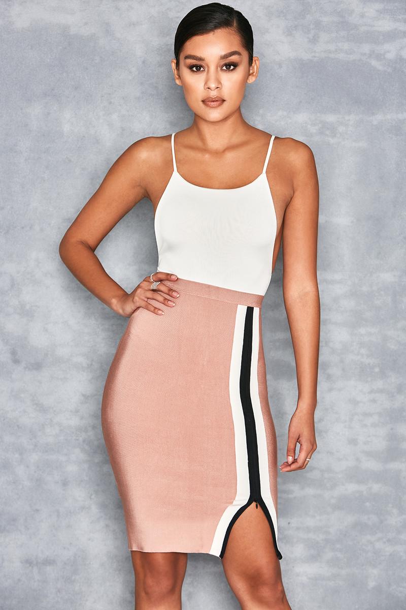 Magnetic Blush Bandage Thigh Split Pencil Skirt