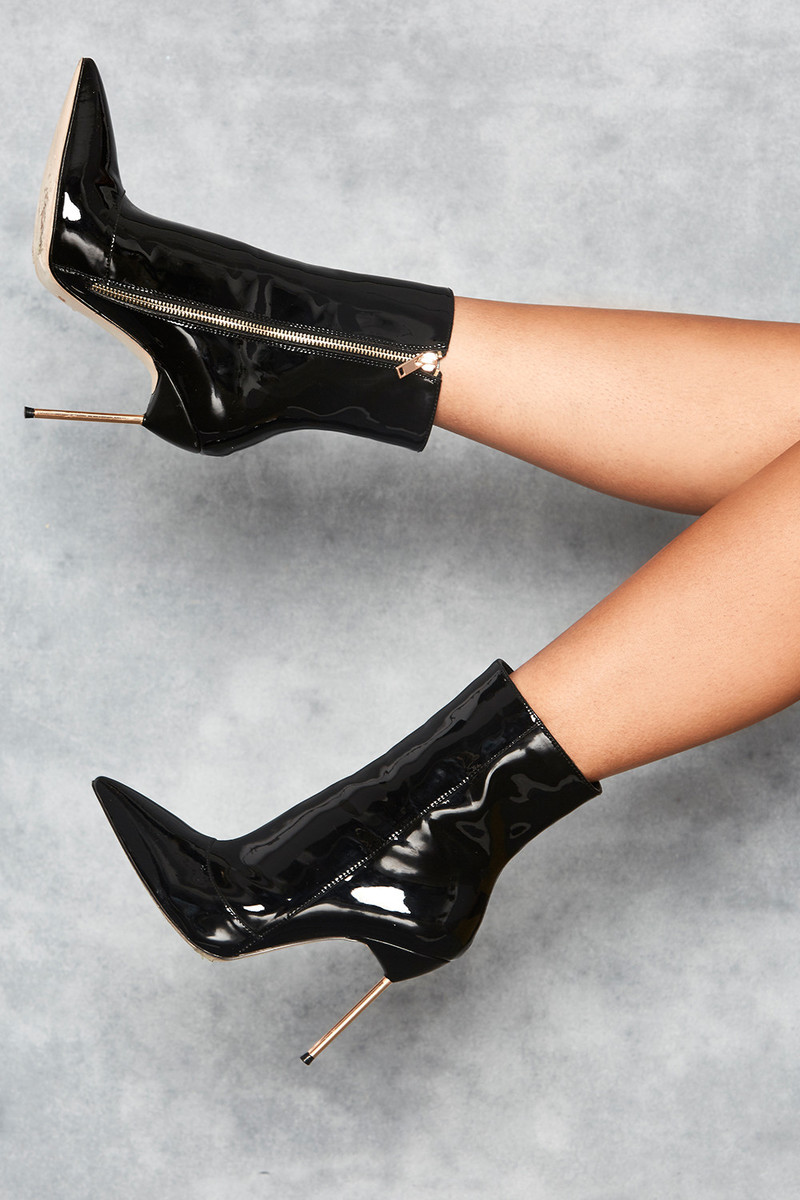 Pegasus Black Mirror Vegan Leather Stiletto Ankle Boots
