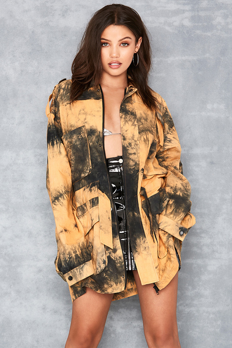 Shade Yellow Tie Dye Cotton Military Jacket