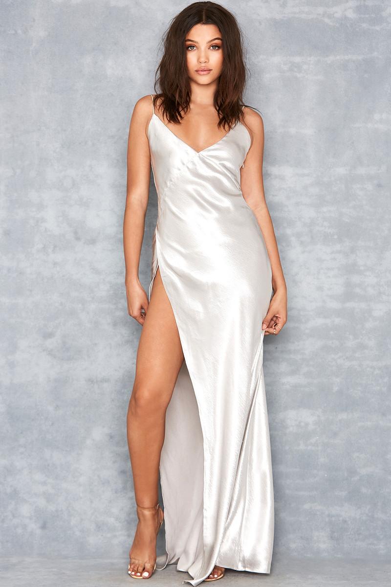 Simplicity Silver Slinky Maxi Dress