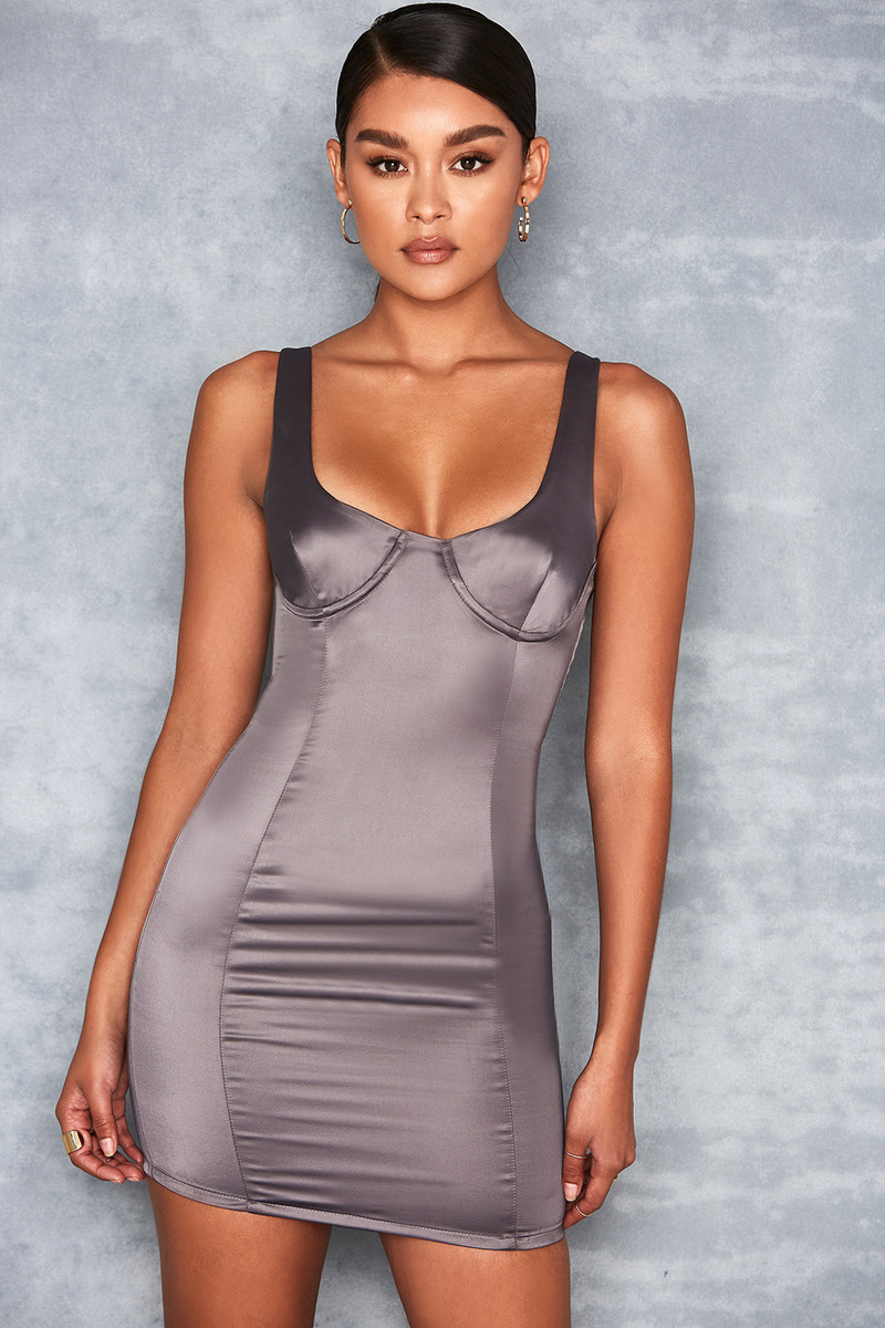 Ti Amo Charcoal Satin Bustier Dress