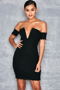 Acclaim Black Bardot Dress with V Wire