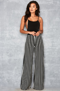 One Love Black & White Bandage Wide Leg Trousers