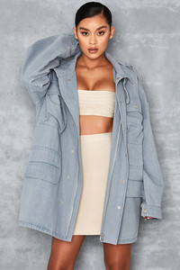 Shape It Pale Blue Denim Oversized Military Jacket