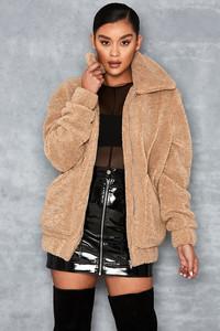 Worth It Camel Oversized Teddy Coat