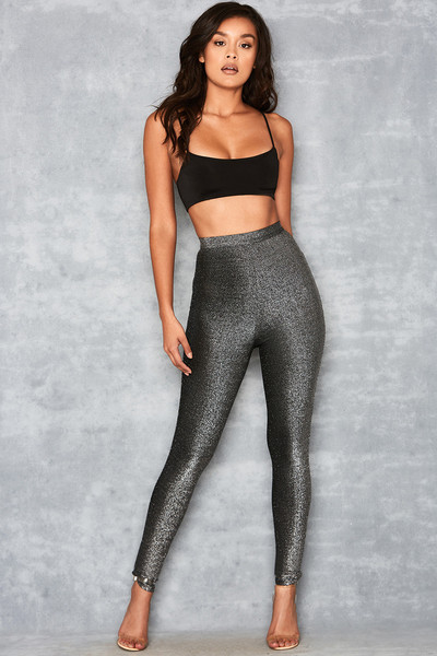 Waternymph Silver Black Mesh Overlay Leggings