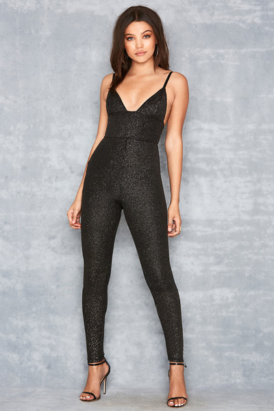 Birthday Suit Black & Gold Lurex Jumpsuit