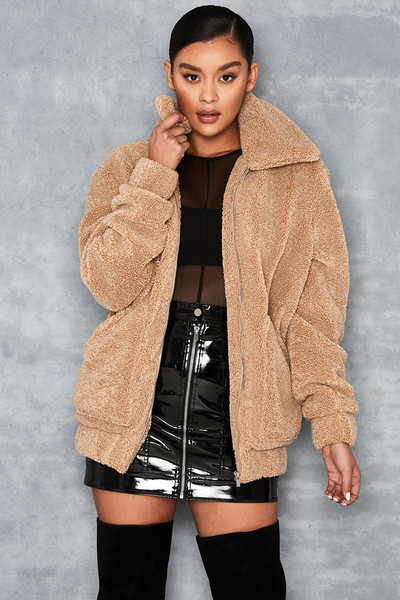 Worth It Camel Oversized Teddy Coat