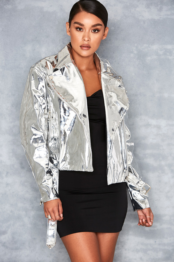 Black Label Silver Mirror Vegan Leather Biker Jacket