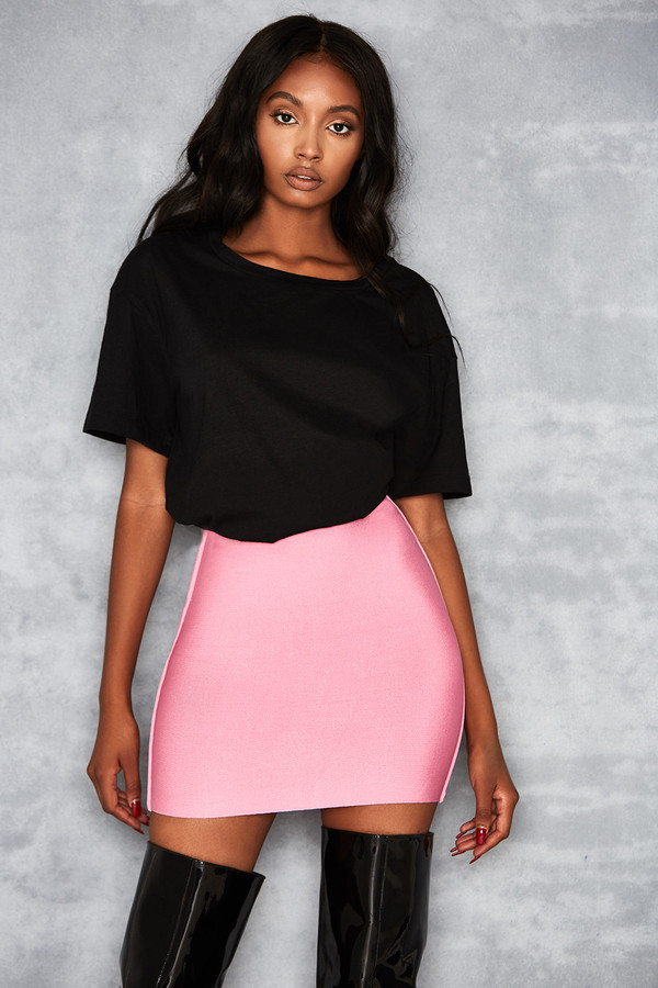 Boss Baby Pink Bandage Mini Skirt