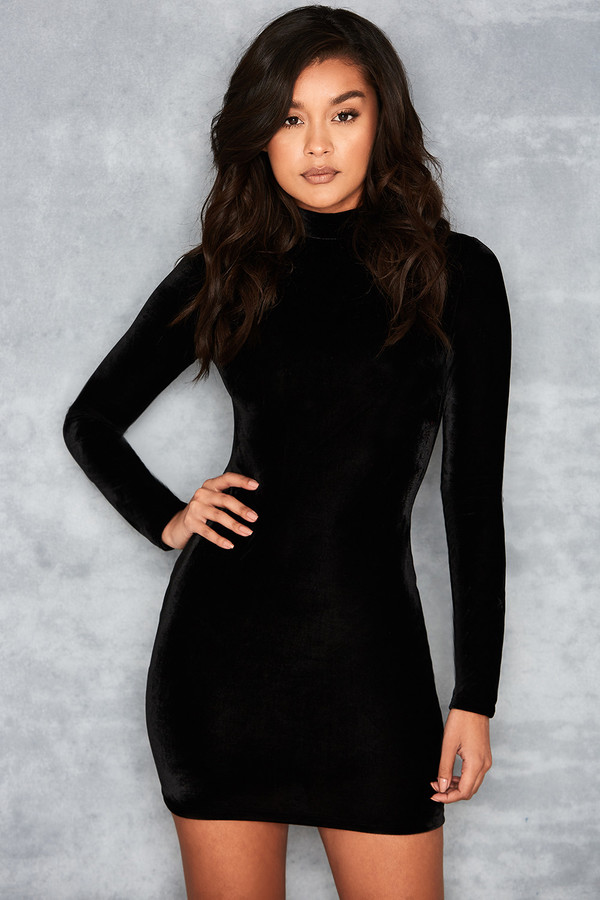 Crash Black Velvet Bodycon Dress