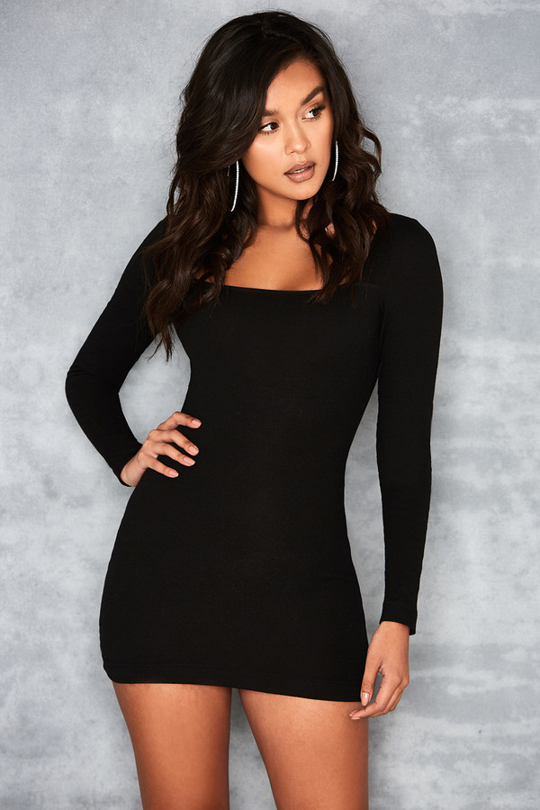 Fable Black Long Sleeve Square Neck Dress
