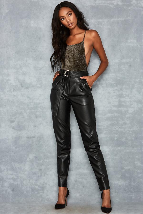 Flourish Black Vegan Leather Peg Trousers