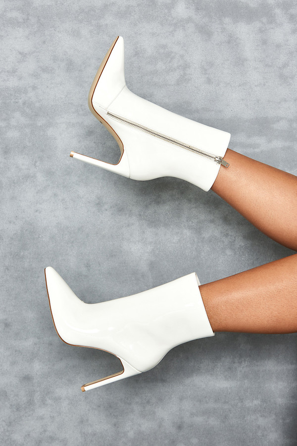 Malachi White Vinyl Ankle Boot