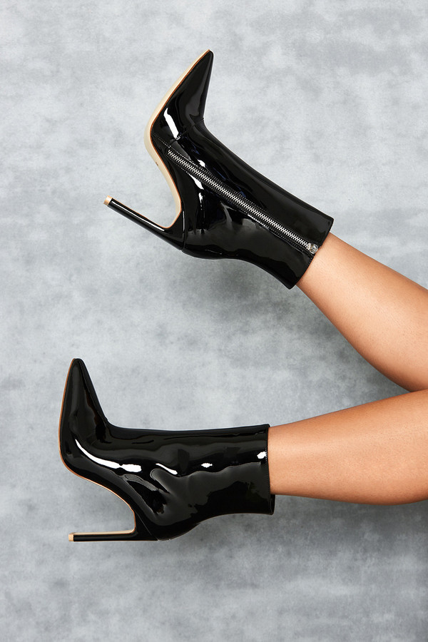 Malachi Black Vinyl Ankle Boot