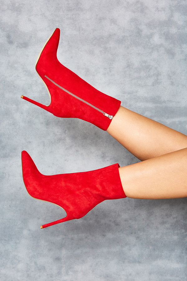 Racy Red Suede Ankle Boots