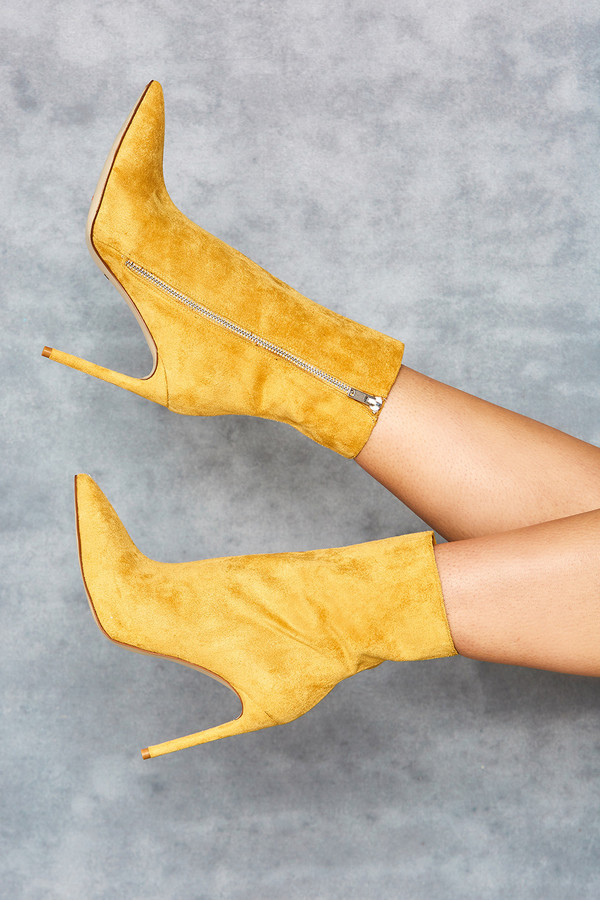 Racy Yellow Suede Ankle Boots