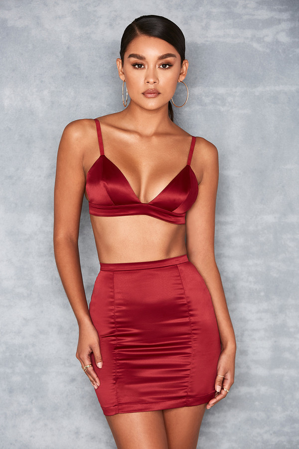 'Smitten' Wine Stretch Satin Two Piece