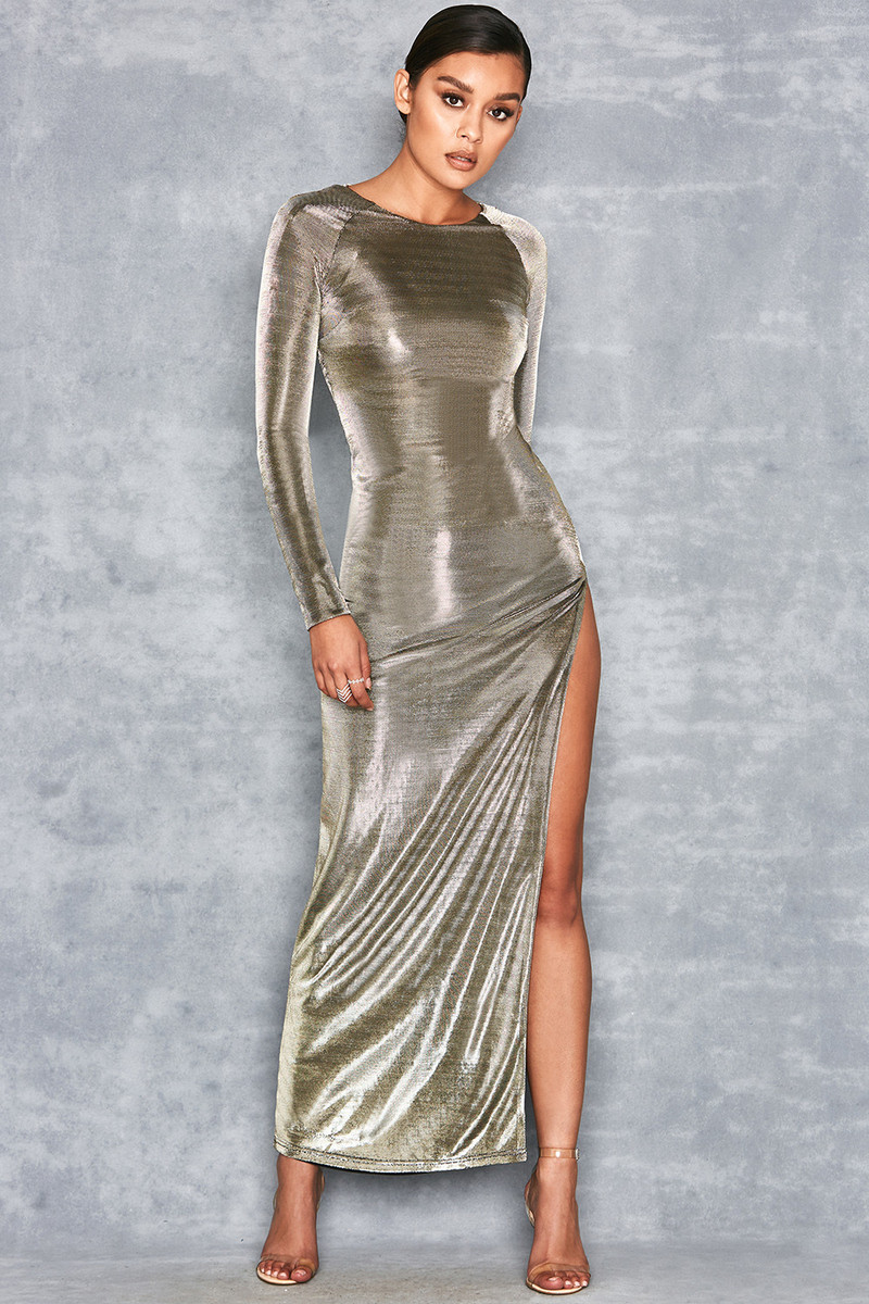 Ministry Black Metallic Thigh Split Maxi Dress