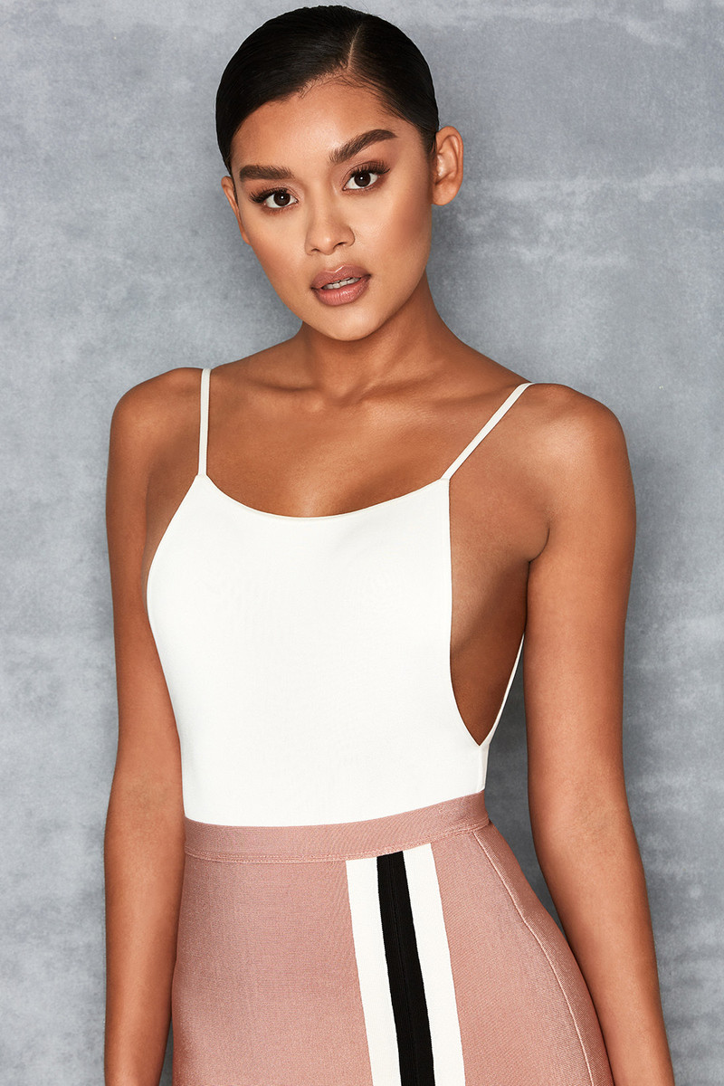 'Deviate' White Silky Jersey Low Back Bodysuit