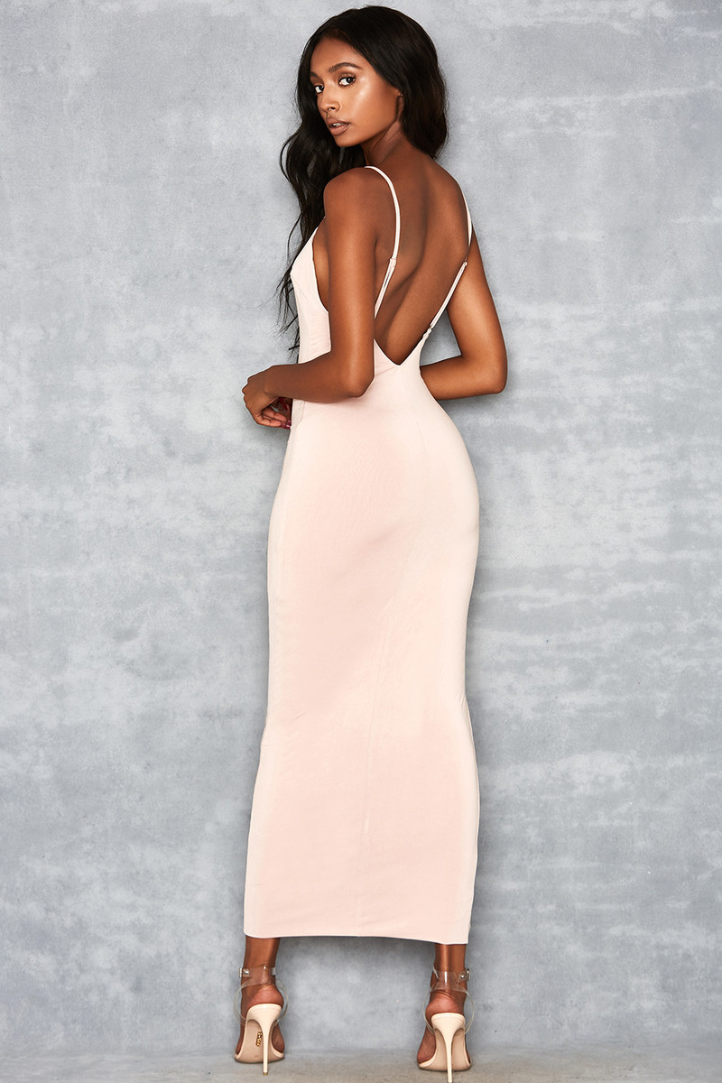Dainty Doll Nude Silky Jersey Maxi Dress