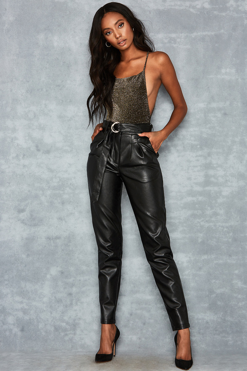 Flourish Black Vegan Leather Peg Trousers