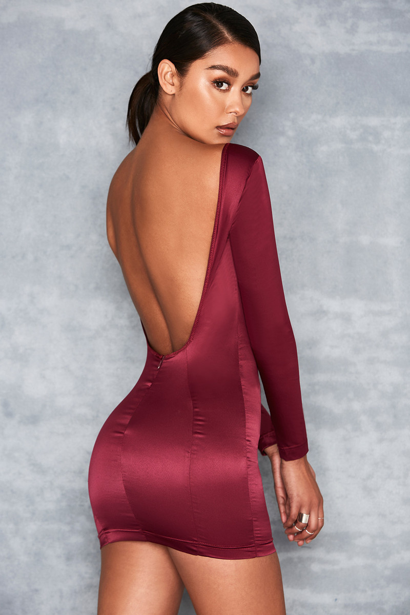 Gamble Wine Satin Scoop Back Dress