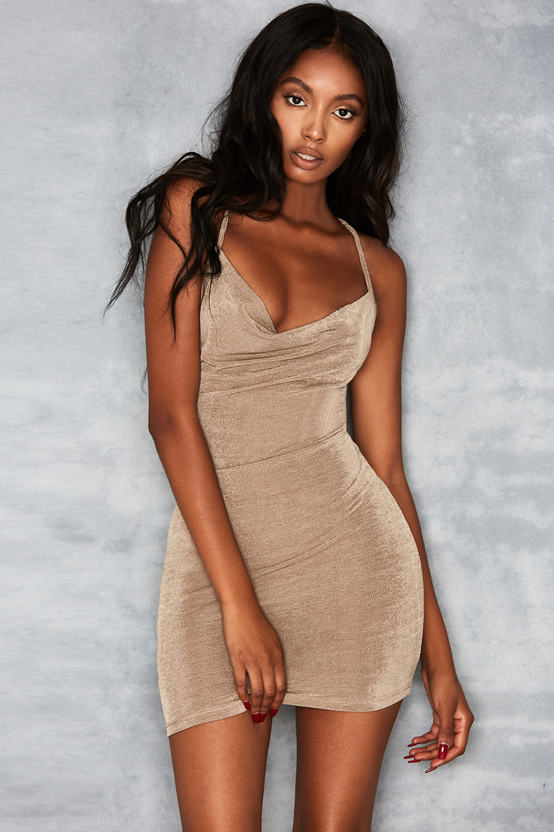 Larceny Taupe Cowl Neck Mini Dress