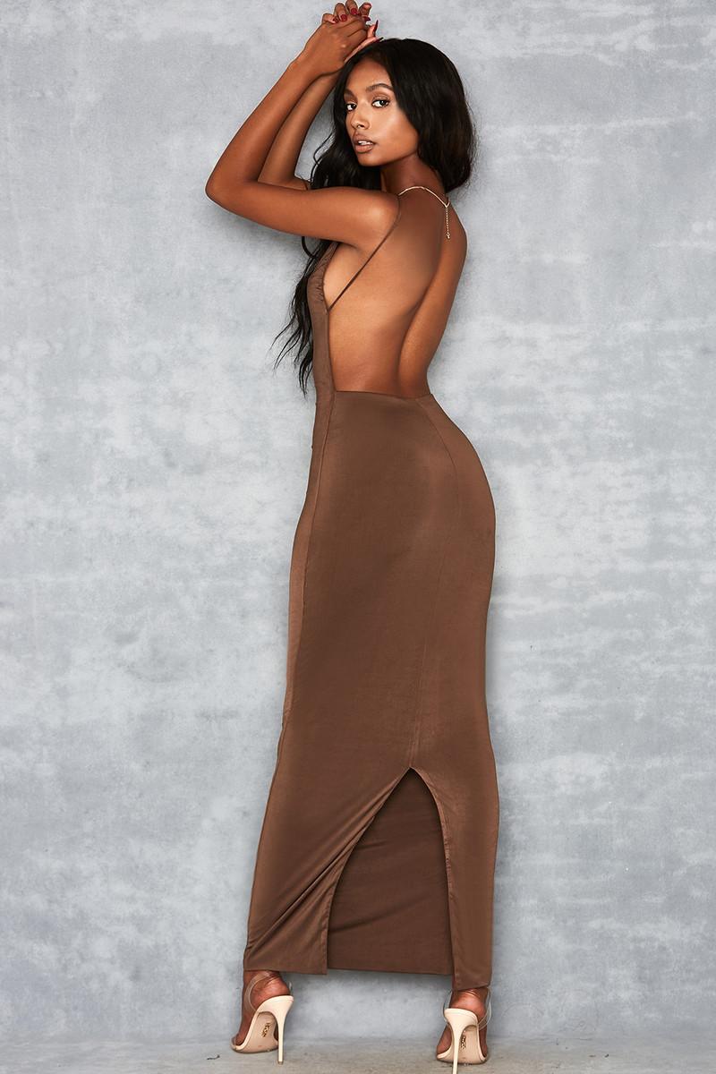 Plexi Deep Mocha Backless Maxi Dress