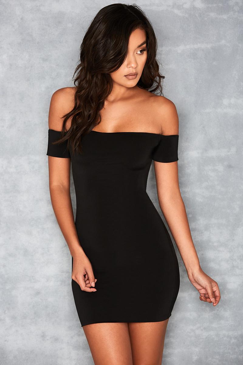 Romantique Black Chiffon Bardot Mini Dress