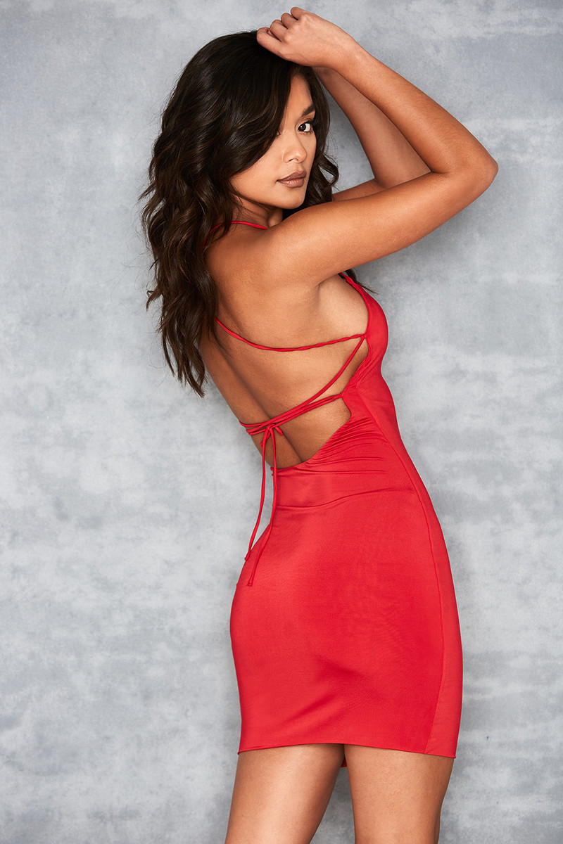 Samoa Red Jersey Mini Dress with Lace Up Back