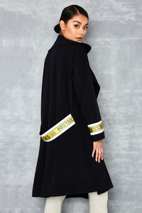 Pass It Navy Caution Tape Overcoat