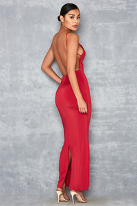 Plexi Red Silky Jersey Backless Maxi