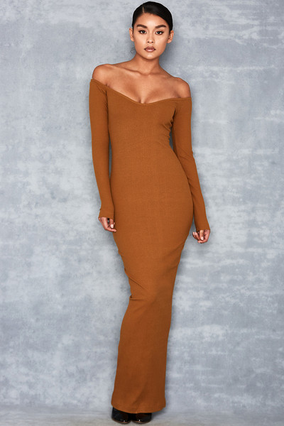 'Best Shot' Rust Off Shoulder Maxi Dress