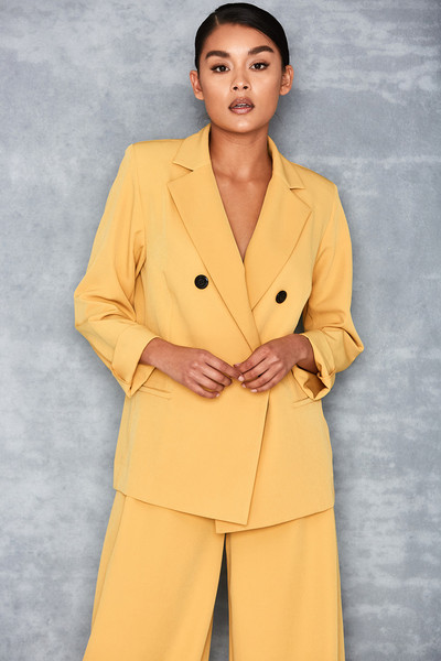 Joyous Yellow Crepe Tailored Blazer