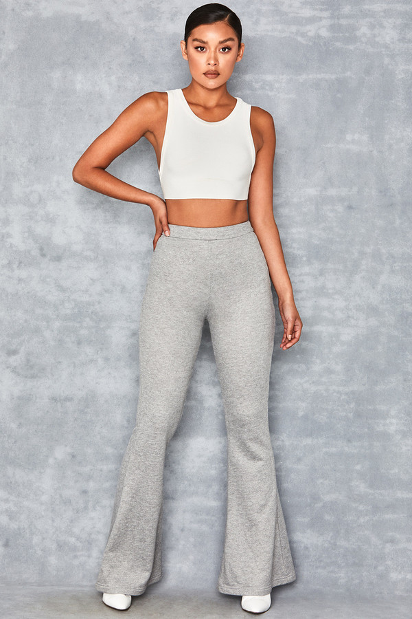 Atom Grey Marl High Waisted Stretch Flared Trousers