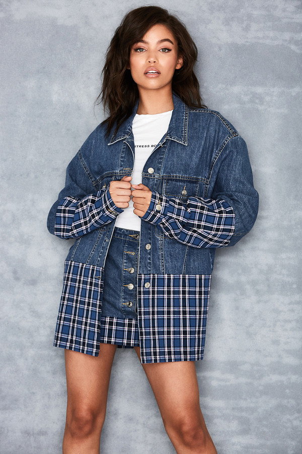 Enthuse Denim + Plaid Oversized Jacket