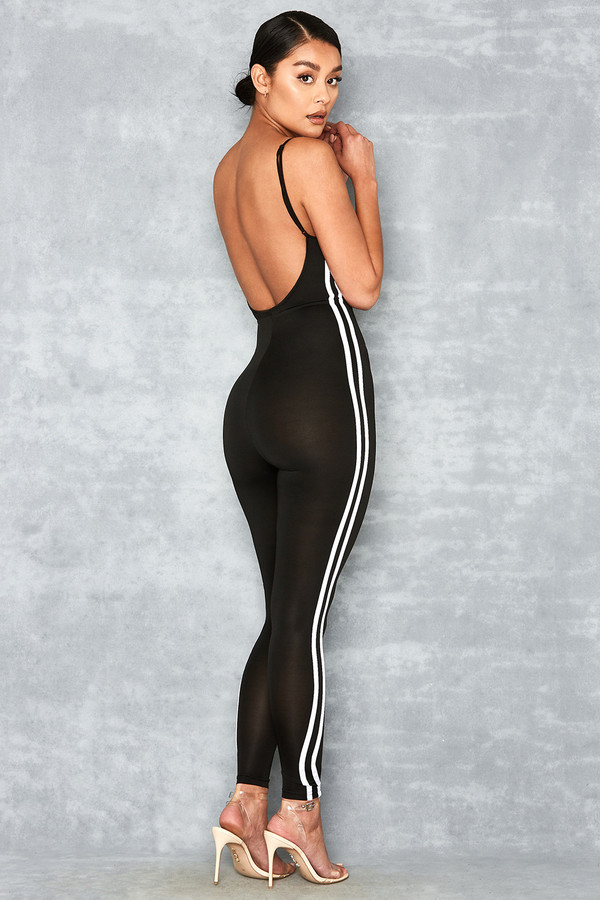 Feels Black Side Stripe Jumpsuit