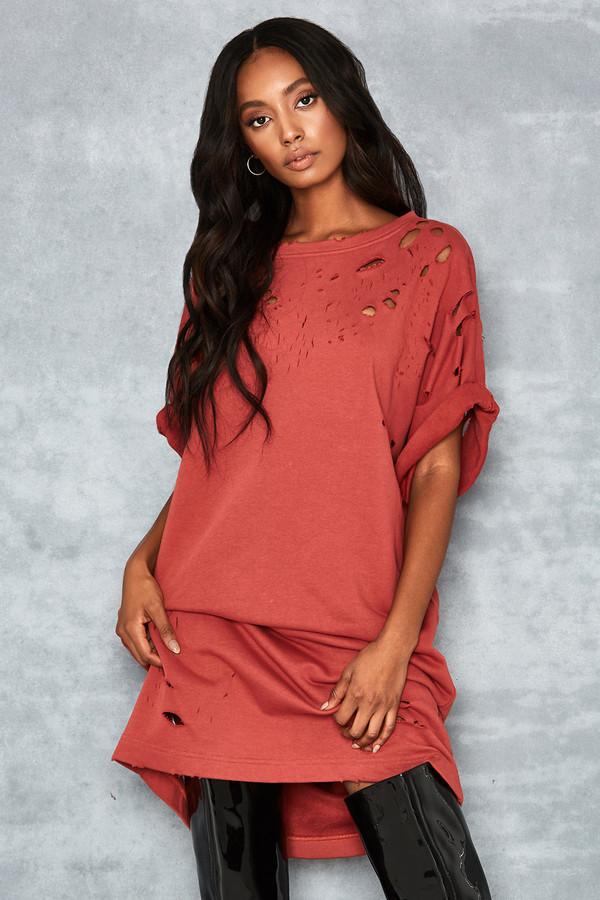 Fortitude Terracotta Oversized T Shirt Dress