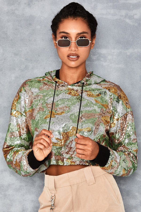 Gallahad Green Camo Sequin Cropped Hoodie